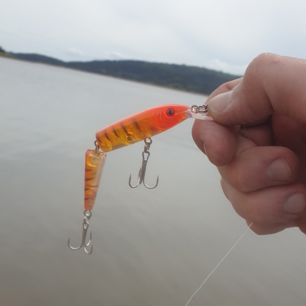 Multi-Jointed Minnow Lure holding orange