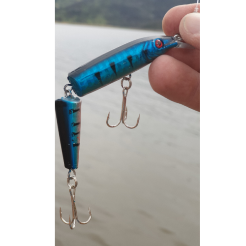 Multi-Jointed Minnow Lure holding blue