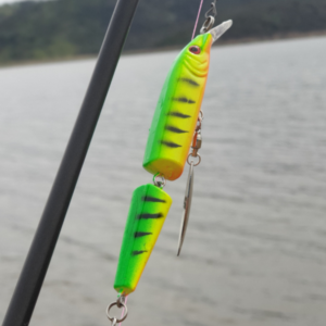 Multi-Jointed Minnow Lure on rod green